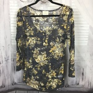 Pins & Needles Gray Floral Lace Sheer Top L